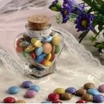 Бурканче стъклено за сватби и кръщенета във формата на сърце 106 ml
