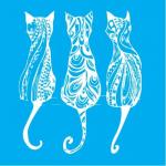"""Стенсил """"Котки"""" 15смX15см"""