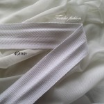 Лента  рибена  кост  40 мм бяла 100% Полиестер