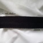 Лента Рибена кост  25 мм черно 100%  Памук