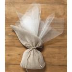 Бонбониера ленена торбичка 13x25см